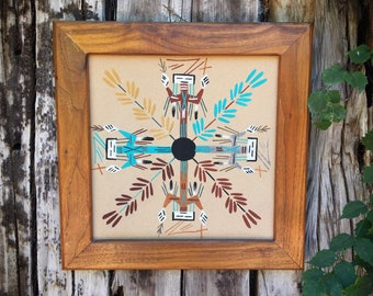 "Vintage 15"" Framed Navajo Sand Painting Yei Figure Southwestern Wall Decor, Kachina Art, Native Americans Art"