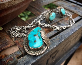 1940s Natural Turquoise Pendant Necklace and Screwback Earrings, Native American Indian Jewelry Set