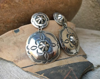 """Navajo Made Large 1-3/4"""" Long Sterling Silver Concho Earrings, Native American Indian Jewelry for Women"""