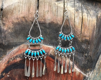 Turquiose Chandelier Earrings Zuni Milburn Dishta Petit Point Dangles, Native American Indian Jewelry