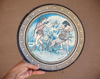 Redware Pottery Wall Plate from Greece with Artemis and Hercules, Greek Mythology Wall Hanging