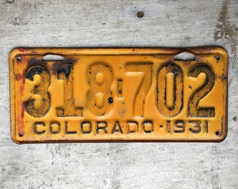 Unrestored 1931 Rustic Yellow Metal License Plate from Colorado, Salvage Industrial Decor