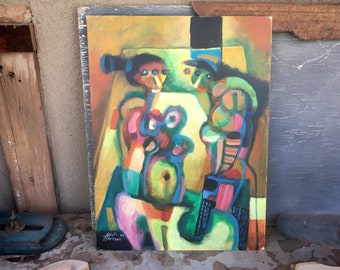 1997 Original Manuel Martinez Oil Painting On Canvas Board 12 x 16 Unframed, Mexican Modernist