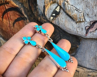 Channel Inlay Turquoise Earrings for Women, Native American Indian Jewelry Bud Cross