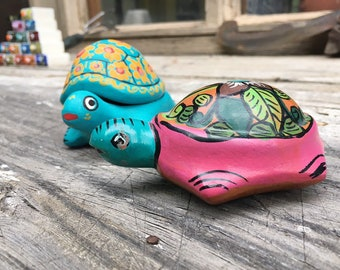 Two Colorful Ceramic Turtle Figurines, Guererro Mexico Pottery, Tortoise Trinket Small Jewelry Box