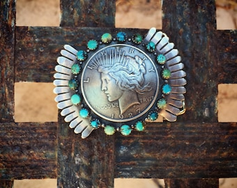 Silver Coin Turquoise Belt Buckle for Men or Women 1927 Peace Silver Dollar Jewelry