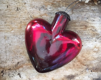 Red Heart Mercury Glass Christmas Ornament Kugel Style Tree Decorations Holiday Decor