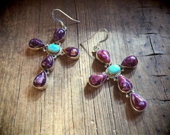 Turquiose Earrings with Charoite Stone Native American Cross Earrings, Gift for Catholic