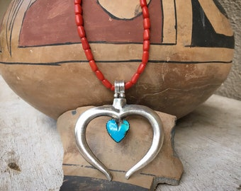 1960s Coral Choker Necklace Sterling Silver Turquoise Heart Naja, Native American Indian Jewelry