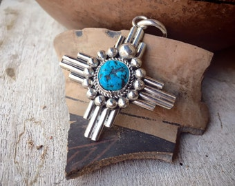 Sterling Silver and Chunky Turquoise Zia Pendant for Necklace, Native America Jewelry Sun Design
