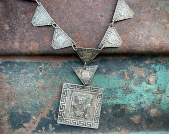 Vintage 900 Silver Peruvian Panel Link Necklace with Repousse Design, Inca God