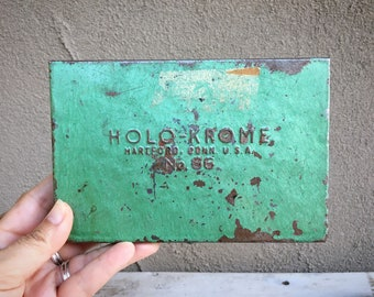 Small Flat Chippy Green Vintage Flat Metal Tool Box Holo-Krome Case No.66, Industrial Decor