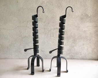 Pair of Wrought Iron Courting Candle Holders with Height Adjusters, Rustic Primitive Decor