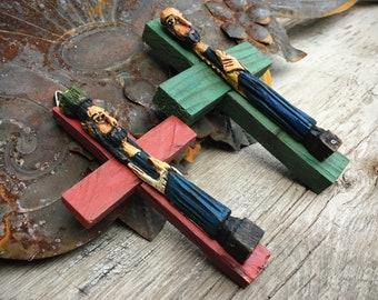 Pair of Small Handmade Mexican Folk Art Jesus Christ on Cross Wall Crucifix, Religious Gift Catholic