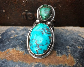 1970s Big Two Stone Blue and Green Turquoise Ring for Women Size 7, Navajo Native America Indian Jewelry