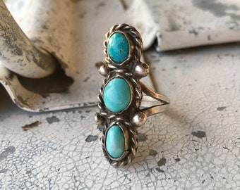 Small Turquoise Long Ring for Women Size 5.5, Navajo Native America Indian Jewelry, Granddaughter Gift