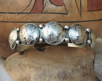 Betty Yellowhorse Mercury Dime Silver Cuff for Women Men, Navajo Native America Indian Jewelry