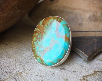 Large Turquoise Ring Size 7.5 for Women, Southwestern Statement Ring, Native American Indian Jewelry
