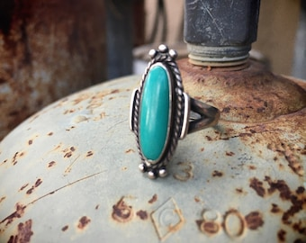 Small Fred Harvey Era Turquoise Ring Size 5.25, Bell Trading Company Southwestern Jewelry