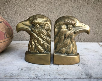Vintage Brass Eagle Head Bust Book Ends, Patriotic Bookends, Hollywood Regency Midcentury Decor