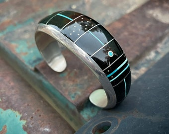 Navajo Jimmie Poyer Channel Inlay Cuff Bracelet with Black Onyx Turquoise, Native American Jewelry