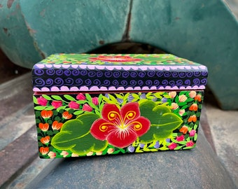 Small Vintage Colorful Mexican Painted Wood Box with Floral Design, Folk Art Trinket Holder