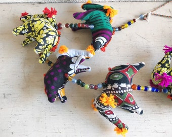 """26"""" India Door Hanging Fabric Bird Colorful Decor, Bohemian Decor, Eclectic Style, Rajasthani Wall Hanging, Gift for Sister Nursery Decor"""