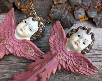 Plastic Faux Wood Angel Ornaments Hand Painted in Baroque Old World Style, Religious Art Italian