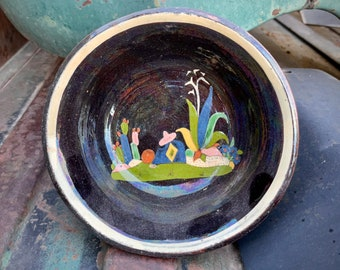 1940s Black Tlaquepaque Bowl with Sombrero and Cactus Scene, Vintage Mexican Pottery, Rustic Decor