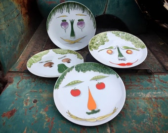 Set of Four Vegetable Face Lunch Salad Plates by Taste Setter Sigma, Veggie Lover Vegetarian Gift
