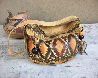 Vintage Hand Painted Leather Purse by Emily Ann of Boca Raton, Bohemian Purse, Boho Bag