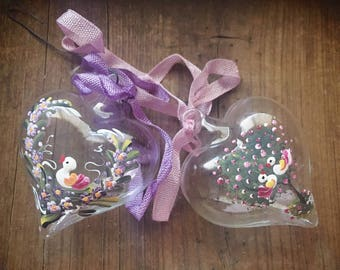 Austrian Glass Heart Ornaments Painted Flower and Birds,Easter Decorations, Heart Decor