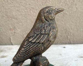 Vintage Brass Bronze Song Bird Statue on Marble Base, Cottage Bookshelf Decor, Bird Lover Gift