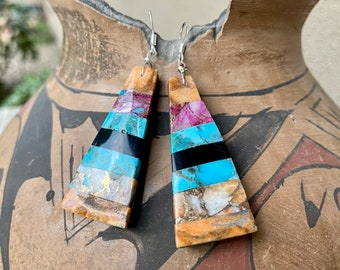 Turquoise Orange Spiny Oyster Slab Earring Dangles Multi-Color, Santo Domingo Native American