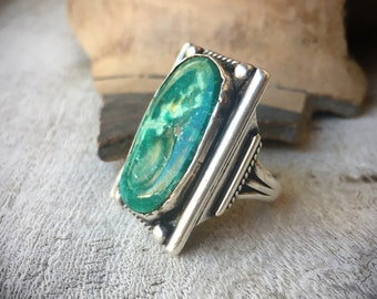 Large Fred Harvey Era Green Turquoise Ring for Women or Men Size 8, Native American Indian Jewelry