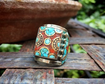 Vintage Crushed Turquoise and Coral Mosaic German Silver Mixed Metal Tribal Ring Unisex Size 9