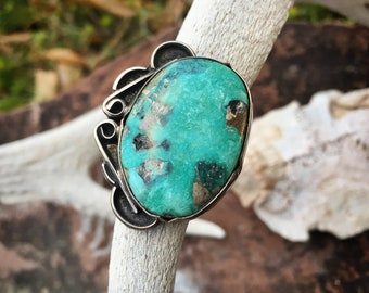 Traditional Navajo Turquoise Ring Size 7, Native America Indian Jewelry, Blue Green Gemstone Ring