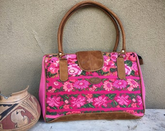 Vintage Large Guatemalan Textiles Purse Pink Tapestry with Leather Handles, Messenger Bag