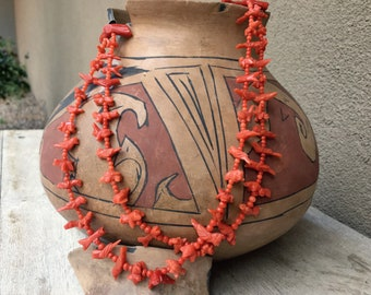 """31"""" Carved Red Coral Animal Fetish Necklace by Zuni Annette Tsikewa, Native American Jewelry"""