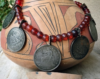 Vintage Mexican Peso and Trade Dollar Coin Necklace with Antique Orangey-Red Glass Trade Beads