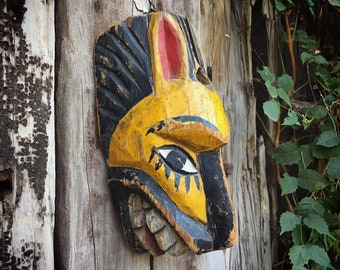 Vintage Carved Painted Old Mexican Wooden Mask of Jaguar Tigre, Mexico Folk Art Wall Hanging