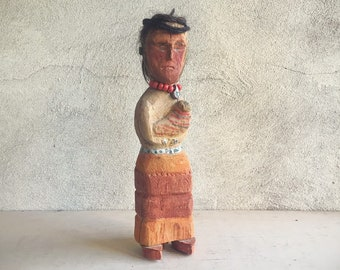Old Wood Carving of Native American Woman, Native American Indian Art, Southwestern Decor