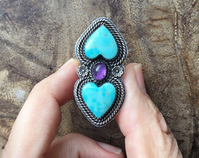 Featured listing image: Turquoise Heart and Amethyst Ring for Women Size 8, Native American Indian Jewelry, February Birthday