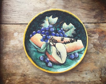 """Vintage 10-3/4"""" Mexican pottery Majolica decorative plate with fruit rustic home decor"""