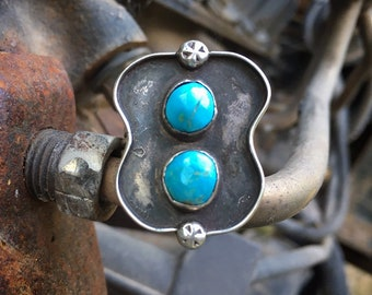 Vintage Turquoise Ring Size 7.75 for Young Woman, Navajo Native American Indian Jewelry