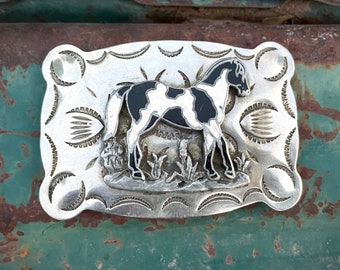 Vintage Belt Buckle Black and White Horse Nickel Silver, Southwestern Style, Cowgirl Rodeo Style