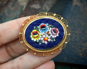 Vintage Oval Italian Micro Mosaic Brooch Pin with Gold Tone Filigree Border, Floral Jewelry