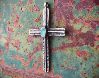 Sterling Silver Cross Pendant with Natural Turquoise, Old Pawn Native American Indian Necklace