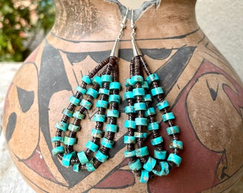 Double-Strand Loops Earrings Hand Shaped Turquoise Beads with Heishi, Native American Jewelry