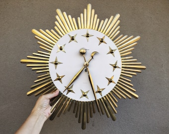 Mid Century Wall Clock Gold Metal Starburt Celestial Design Made in West Germany by Atlanta